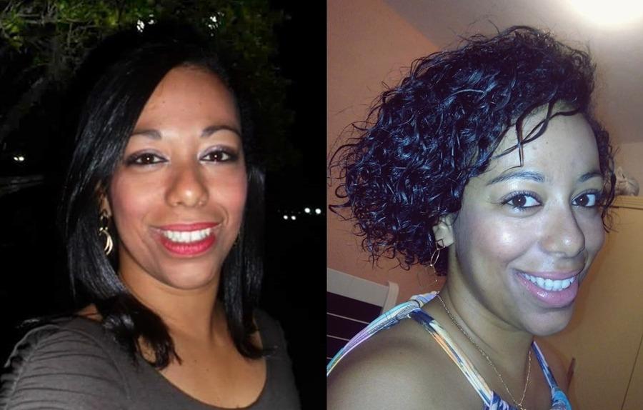 Jeniffer Souza, 29 anos, 1 ano e 9 meses de transição. Foto 1: último alisamento em 2014. Foto 2: cabelo em transição (atualmente)