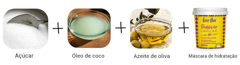receitas caseiras de hidratação com óleo de coco, azeite de oliva, açúcar e máscara