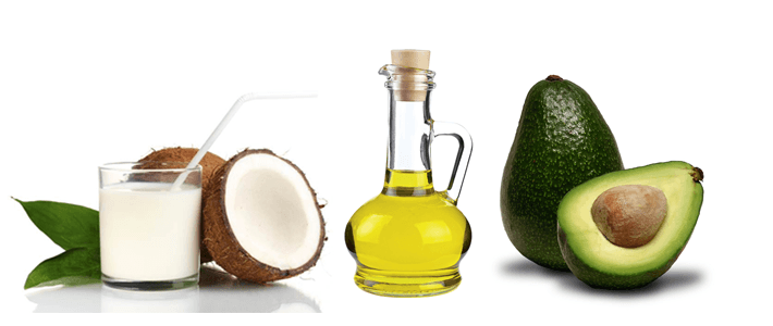 Nutrição com leite de coco, abacate e azeite de oliva