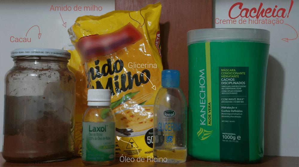 Ingredientes necessários para a hidratação de chocolate