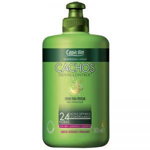 Creme para pentear sem enxágue, Capicilin Cachos (embalagem verde).