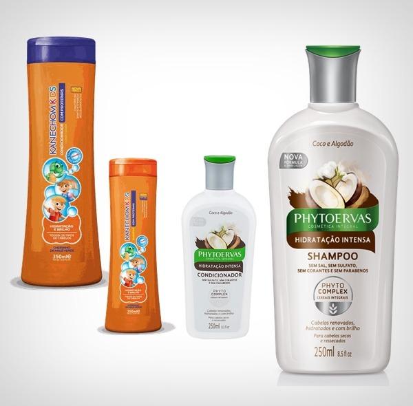 produtos para cabelos cacheados e crespos: shampoo e condicionador