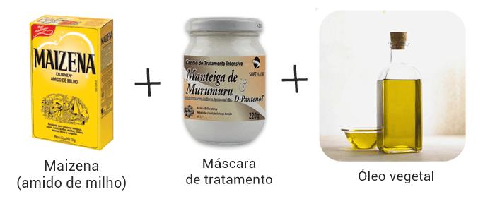 receita caseira de hidratação com maizena, máscara e óleo vegetal