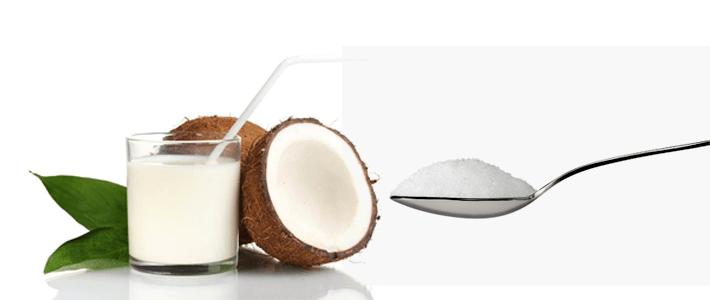 Nutrição de açúcar com leite de coco