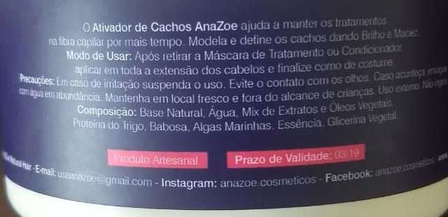 Embalagem Resenha Ativador de Cachos AnaZoe