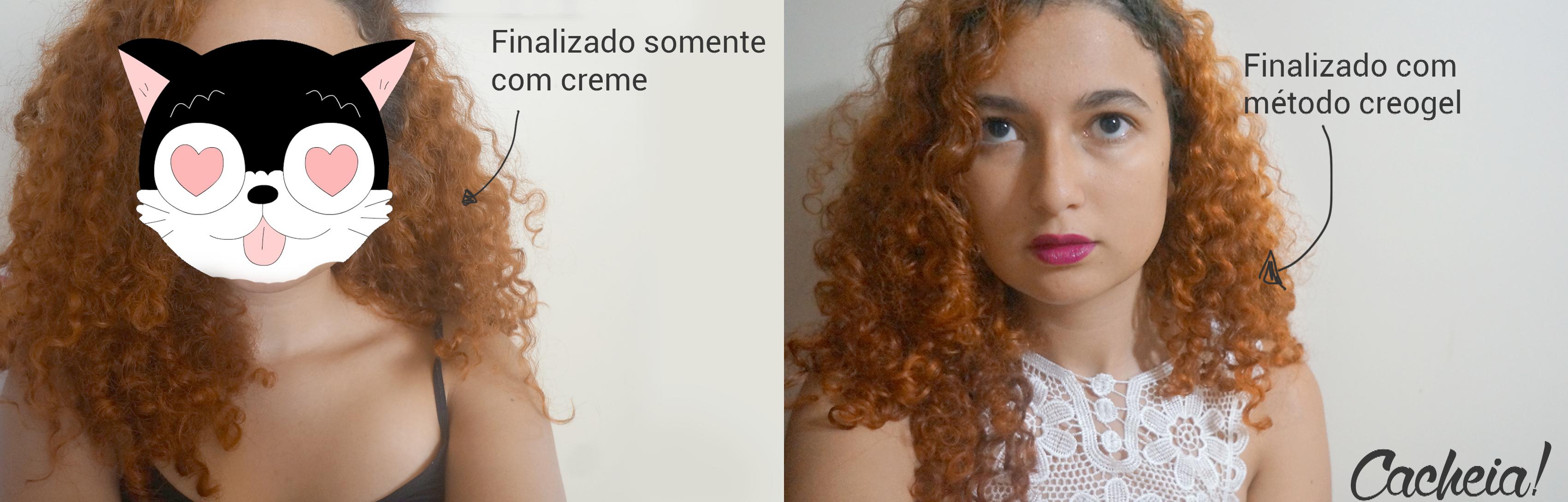 Antes e depois de finalização no cabelo cacheado