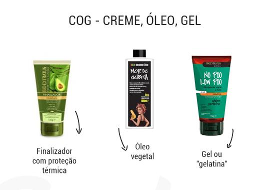 cachos no inverno: imagem contém dicas de método COG: creme, óleo e gel.