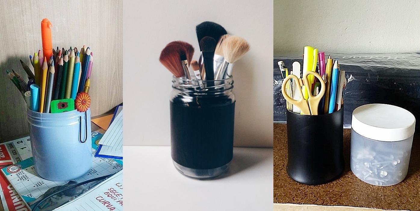 Pegada ecológica e cabelo natural: dicas para um consumo mais consciente. foto com porta lápis, porta maquiagem e porta trecos com material reaproveitado, embalagens de máscara e óleo de coco vazias.