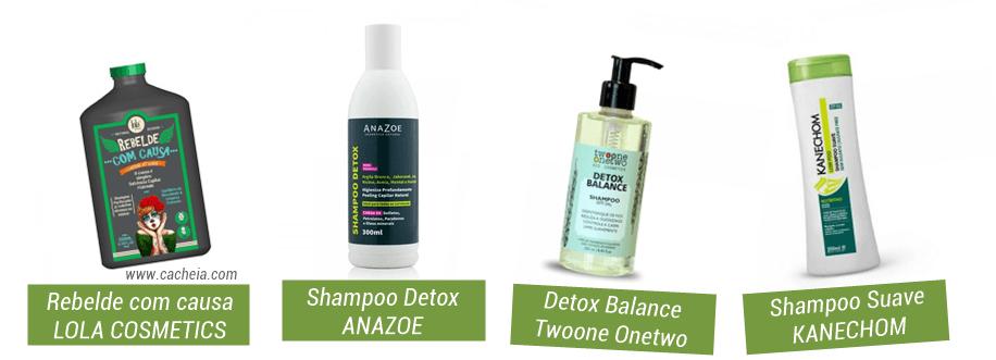 como fazer detox capilar em casa: exemplos de shampoo detox liberados para low poo. Rebelde com causa Lola; Shampoo Detox Anazoe; Shampoo Balance, Shampoo Suave Kanechom