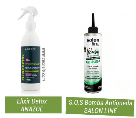 como fazer detox capilar em casa: tônicos fortalecedores Anazoe Elixir e Antiqueda SOS Bomba Salon Line