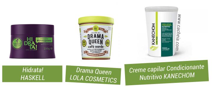 como fazer detox capilar em casa: máscaras de hidratação low poo Hidrata, Haskell; Drama Queen Lola Cosmetics; Kanechom Nutritivo