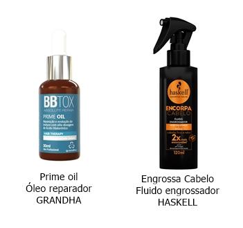 Exemplos de produtos sem enxague com ácido hialurônico.