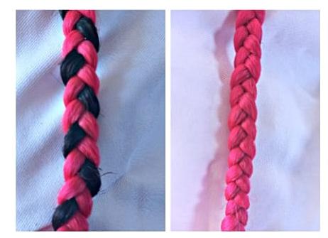 imagem comparativa de box braids sem camuflagem e box braids camuflada seguida de tutorial em vídeo que ensina como fazer box braids sozinha com essa técnica